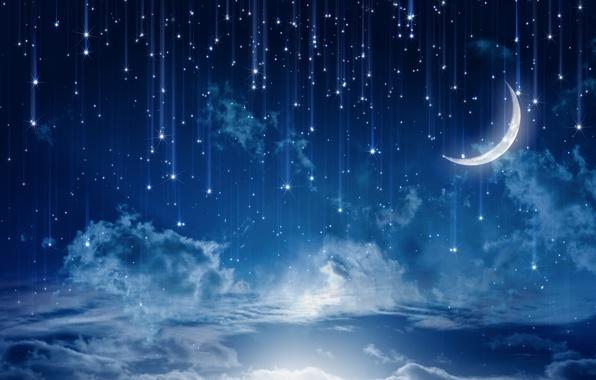 Звезды и месяц, прекрасное небо, картинка к стихам Анны Купровской