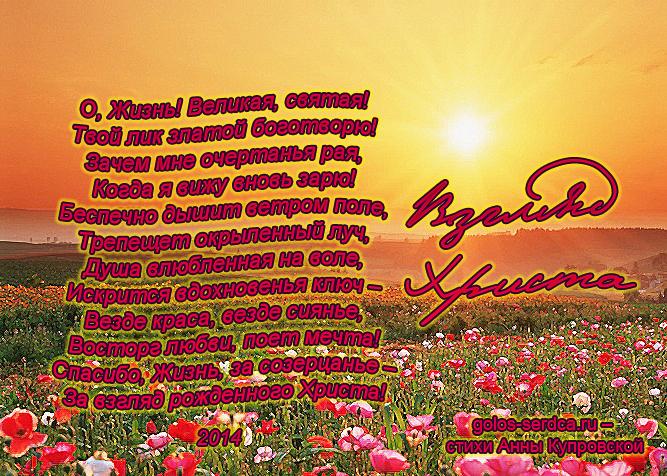 Взгляд Христа (О, Жизнь! Великая, святая!..), стихи о жизни Анны Купровской