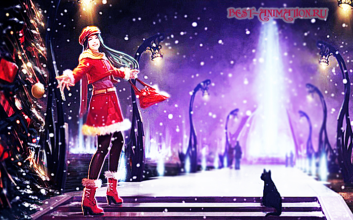 Новогодняя картинка, новогоднее фото подарок Девушка