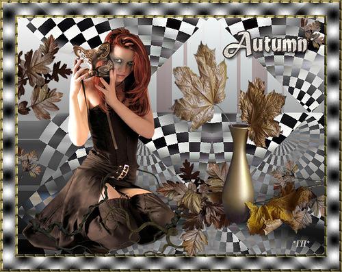 Открытка Осень Девушка