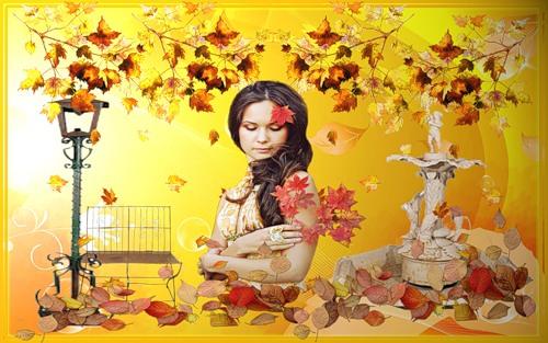 Открытка Осень Брюнетка