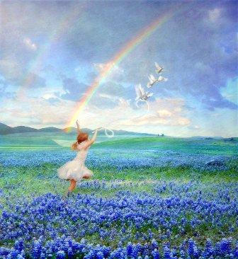 Девочка гуляет в поле, голуби - картинка к стихам Анны Купровской