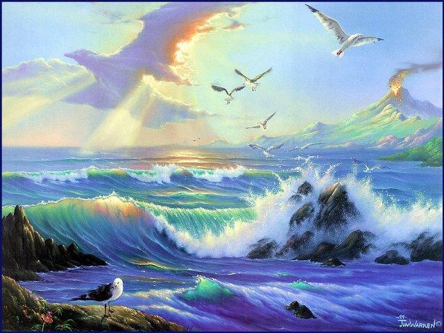 Птицы над морем, картинка к стихам Анны Купровской