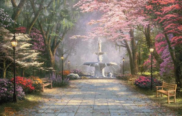 Аллея в парке, деревья, картинка к стихам Анны Купровской