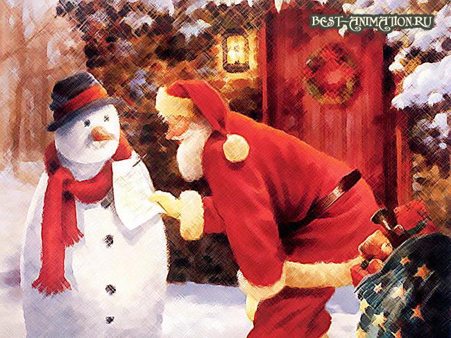 Поздравить друзей, любимых, родных С Новым Годом Синей Козы Снеговик