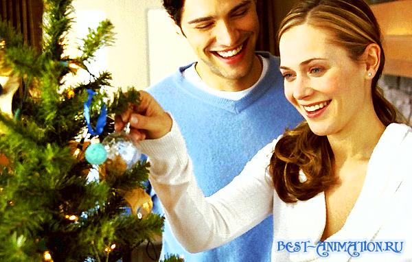 С Новым Годом поздравление картинка, фото Влюбленные