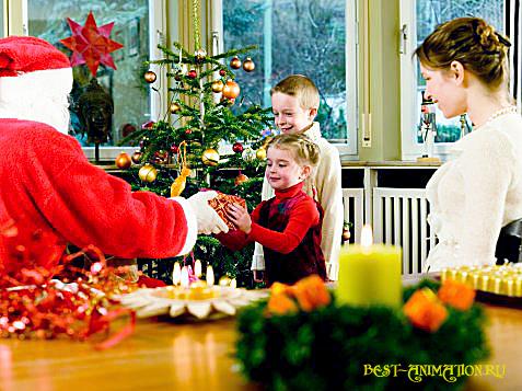Новогодняя картинка, новогоднее фото подарок Дети
