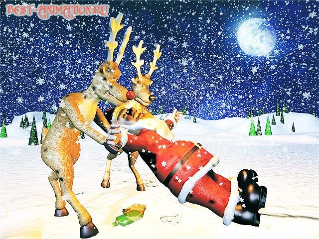 Новогодняя картинка, новогоднее фото подарок Санта-Клаус