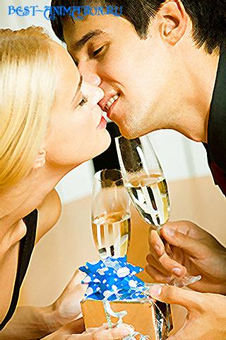 Новогодняя картинка, новогоднее фото подарок Влюбленные