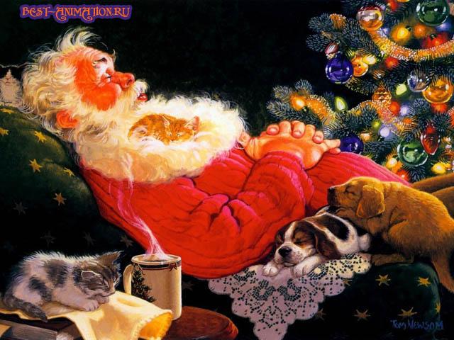 Новый Год 2015 Синяя Коза картинка, фото Дед Мороз спит